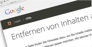 """Google Formular zum """"Entfernen von Inhalten"""""""