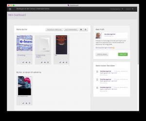 Booktype: Blick aus dem Dashboard, der zentralen Steuerungstelle