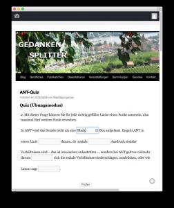 WatuPRO: Lücktentext-Frage im Übungsmodus während der Beantwortung
