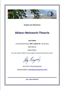 Ein (verkleinertes) Zeugnis-Muster für eine Zwischennote im Online-Kurs zur Akteur-Netzwerk-Theorie