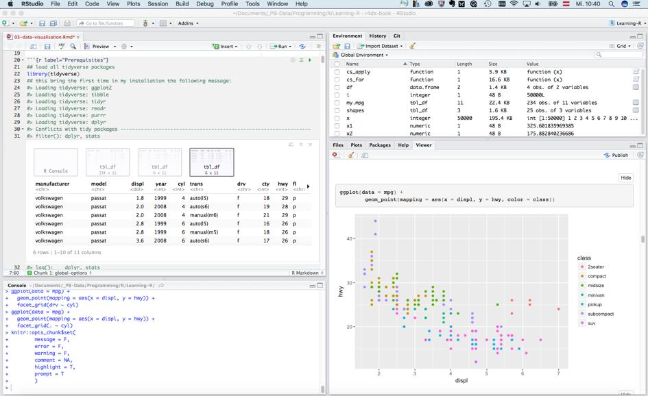Screenshot der R Programmierumgebung RStudio zeigt vier verschiedene Fenster