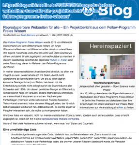 Screenshot der Webseite: Reproduzierbare Webseiten für alle
