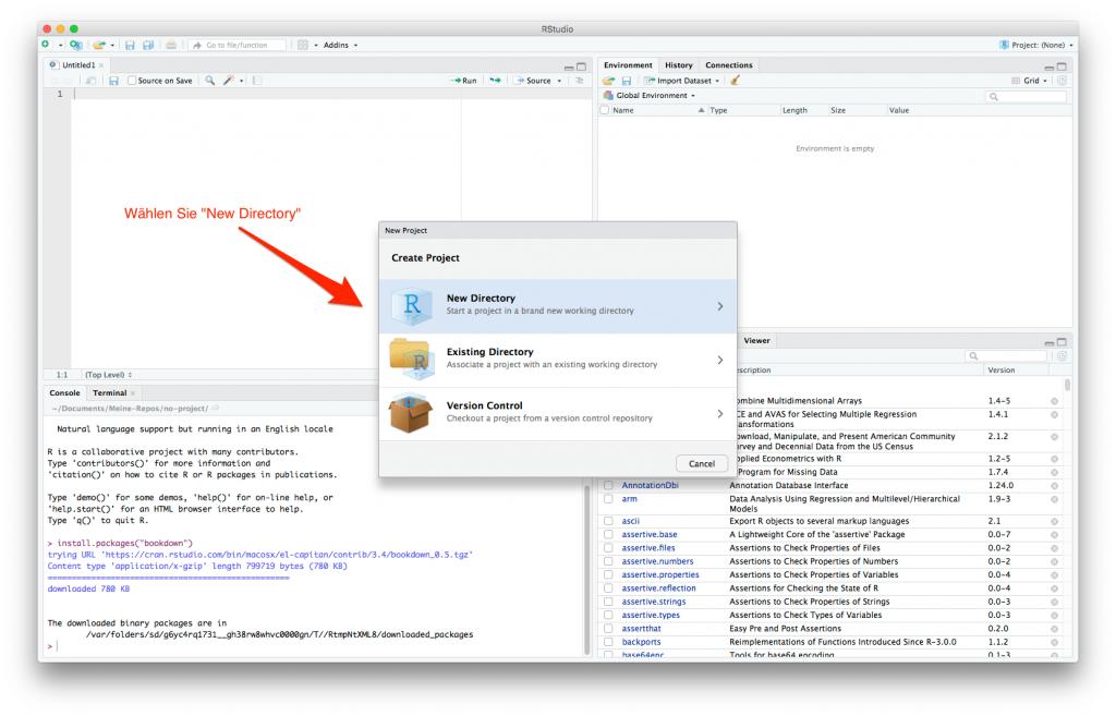 screenshot: Ein Dateiverzeichnis für Ihr Buchprojekt erzeugen