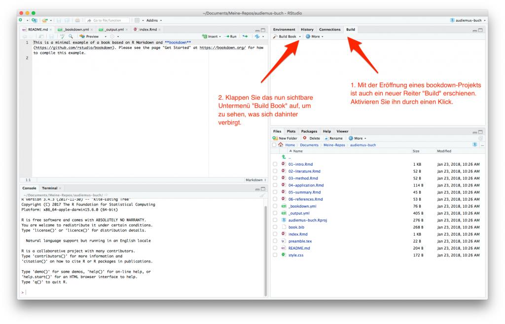 """screenshot: Build-Reiter auswählen und Menü """"Build Book"""" inspizieren"""