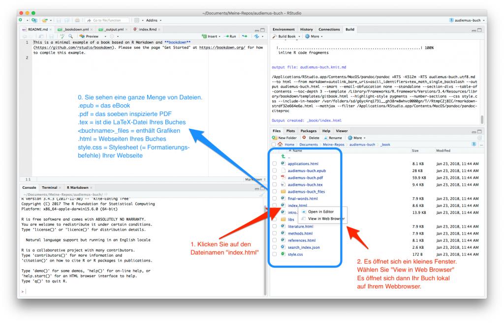 screenshot: Die Webseite lokal öffnen und einige Dateien erklärt