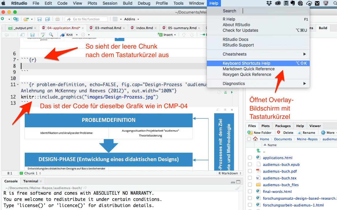CMP-04: Abbildung zu Hilfe-Bildschirm für Tastaturkürzel und für das Einfügen von R-Programmierblocks