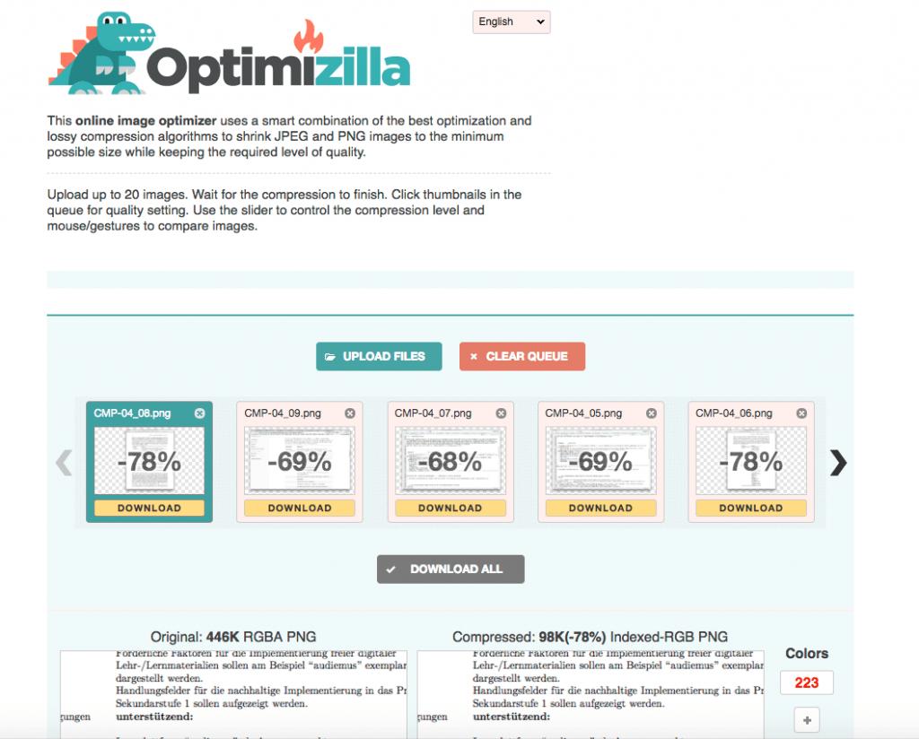CMP-04: Optimizilla verkleinert Bilder online und kostenlost