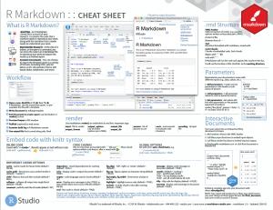 Bildschirmfoto der ersten Seite eines Schummelzettel für die R Markdown-Befehle