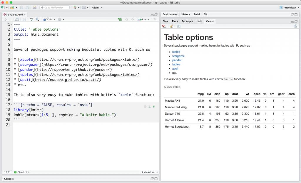 CMP-05: RStudio Interface mit Beispiele von R-Pakete für Tabellen