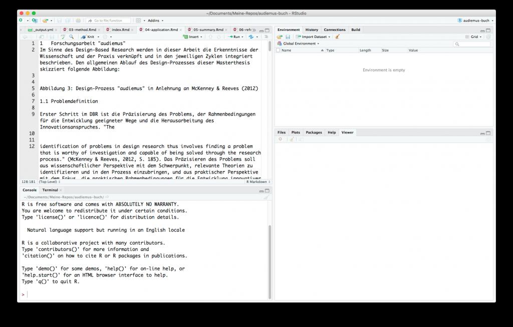 Eine Textpassage mit copy & paste aus der Originaldatei (PDF bzw. Wordfile) in RStudio eingefügt.