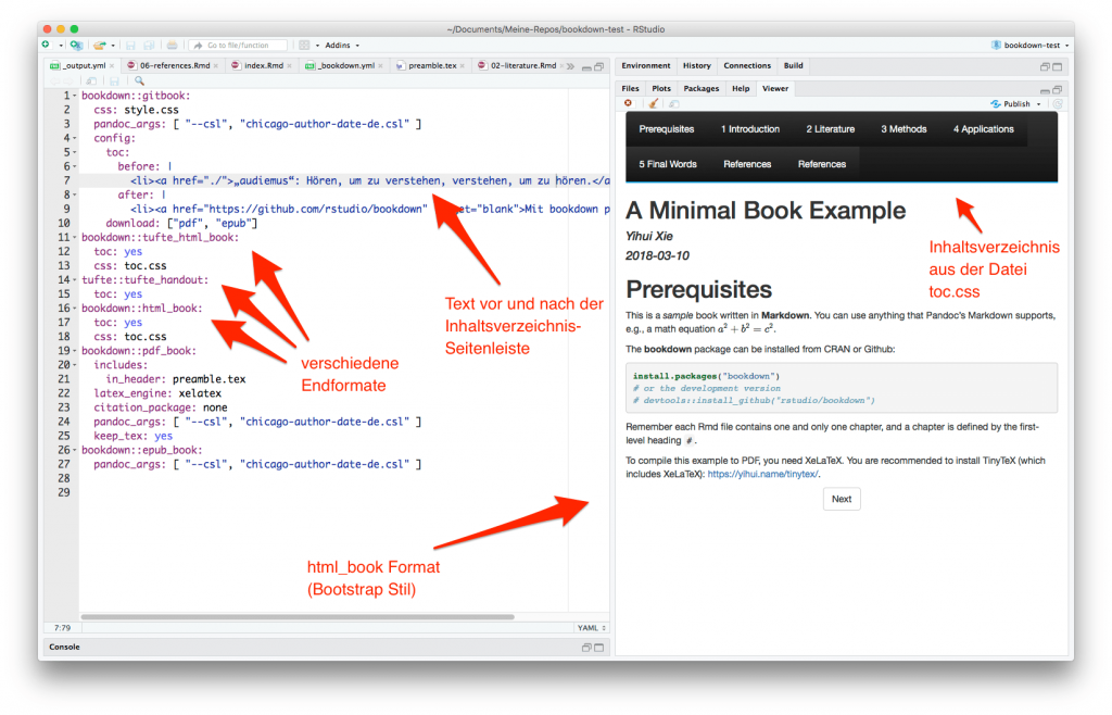 CMP-07: Screenshot zeigt wie verschiedene Publikationsformate in _bookdown.yml eingestellt werden