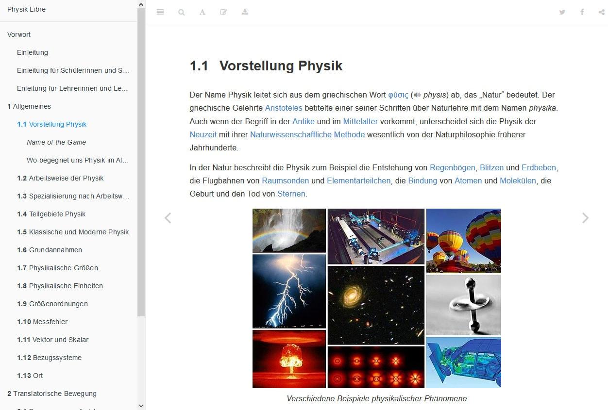 Präsentation einer Webseite von Physik Libre
