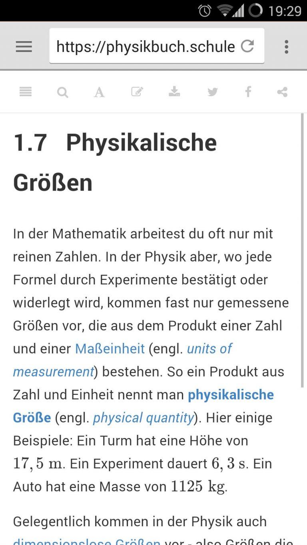 Seite von Physik Libre auf einem Smartphone