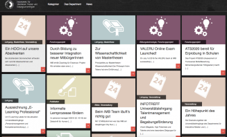 Sceenshort der Einstiegsseite zum Portfolio-Website des Departments für Interaktive Medien und Bildungstechnologien (IMB)