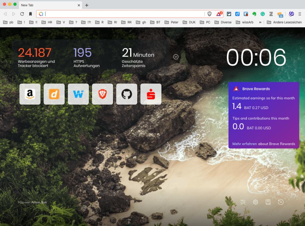 Ein neues Fenster im Brave Browser